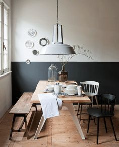 Charcoal Painted Half Wall in the Dining Room