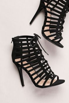 Black High Heel Cage Shooties by Anne Michelle available at David's Bridal