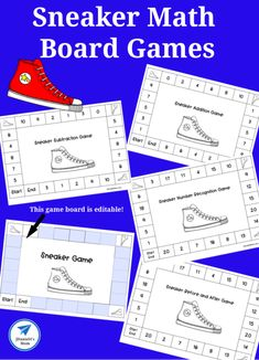 Free Printable Sneaker-Themed Math Game Boards - JDaniel4s Mom Printable Activities For Kids, Preschool Learning Activities, Learning Games, Early Learning, Teaching Math, Free Printables, Math Board Games, Math Boards, Math Games