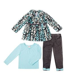 Look what I found on #zulily! Charcoal & Blue Faux Fur Coat Set - Infant & Toddler #zulilyfinds