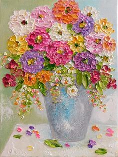 Bring in the summer with a abstract bouquet of oil impasto zinnias and mixed flowers! Flowers lift from canvas with the thick oil impasto sculpting the flowers. Perfect for a gift or small space. Comes signed by me and with my artist statement. Choose size and canvas to fit your space.