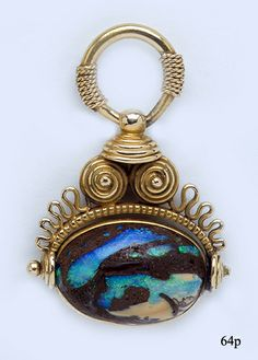Boulder Opal and Gold Arts and Crafts Fob/Pendant by Kohn at Nelson Rarities Inc.