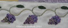 Crazy Quilt Stitch #179, Stem Stitch + Straight Stitch Leaves + French Knots ©Valerie Bothell 2015