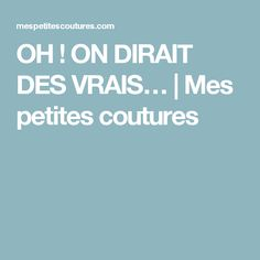 OH ! ON DIRAIT DES VRAIS…   Mes petites coutures