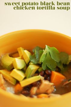 Sweet Potato Black Bean Chicken Tortilla Soup
