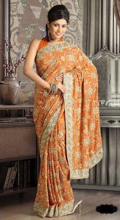 Orange and gold work sari