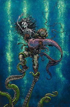 Catch or Release by David Lozeau Skeleton Mermaid Canvas Art Print – moodswingsonthenet
