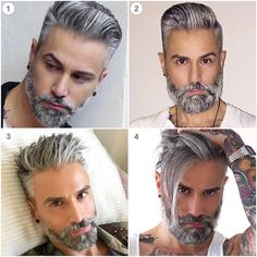 Men's Toupee Hair Hairpieces for Men inch Thin Skin Hair Replacement System Monofilament Net Base Mix Grey Hair) Haare Toupieren Grey Hair Beard, Grey Hair Men, Men Hair Color, Beard Styles For Men, Hair And Beard Styles, Short Hair Styles, Cool Hairstyles For Men, Haircuts For Men, Mens Toupee
