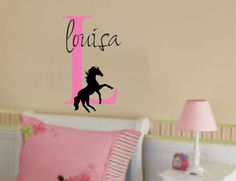"""Great idea for Jaidenne's """"Cowgirl"""" Room!  Girl Name and Horse Wall Decal Initial by AllOnTheWall on Etsy, $23.00"""