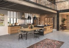 Cuisine Style Industriel Cuisine Style Industriel Pas Chere pertaining to Style Cuisine Top Of Cabinet Decor, Wood Frame House, Industrial Style Kitchen, Warm Industrial, House Layouts, Interior Design Living Room, Kitchen Decor, Sweet Home, Home Decor