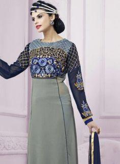 Princely Georgette Grey Churidar Designer Suit