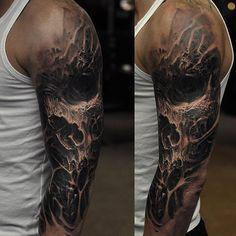 Dark Skull Sleeve http://tattooideas247.com/evil-skull/