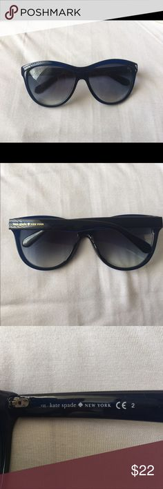 Kate spade sunglasses These glasses are a dark blue and are in really good condition! There are some very small nicks on them that don't affect the overall wear. Received as a gift a few years back and never really wore them! I'm pretty sure they're authentic kate spade but idk how to prove that kate spade Accessories Sunglasses