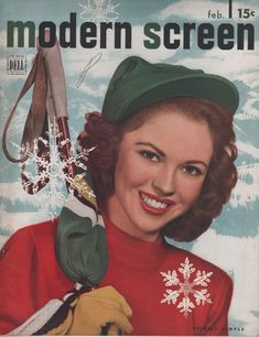 Shirley Temple looking darling in ski wear on the February 1948 cover of Modern Screen magazine.