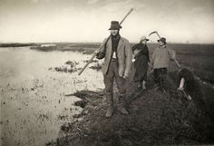 Platinum print by Peter Henry Emerson. Coming Home From The Marshes is one of 40 images by Emerson, a pioneering photographer, in Life and Landscape on the Norfolk Broads. Victoria And Albert Museum, Emerson, Norfolk Broads, Painting Prints, Art Prints, Paintings, Watercolor On Wood, Canvas Art, Canvas Prints