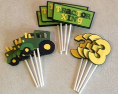 Tractor Cupcake Toppers - Birthday Decorations, Party Supplies