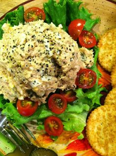 Fantastic Tuna Salad recipe with sour cream, mayo, mustard, Tony Chachere's, onion, pickle...)