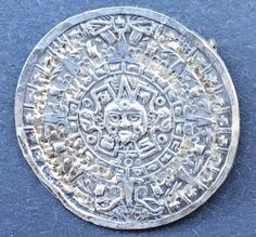 Sterling Silver   Aztec Mayan Calendar  Pendant Brooch Pin Small Mexico Mexican #Unbranded