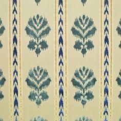 CLARENCE HOUSE ETHNIC Chic Ikat Kilim Warp Floral Stripe Velvet Fabric 5 Yards… Coordinating Fabrics, Striped Fabrics, Cobalt Blue, Blue Green, Clarence House, Ethnic Chic, Velvet Color, Floral Stripe, Spring Green