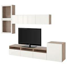 BESTÅ TV storage combination/glass doors - walnut effect light gray, Selsviken high-gloss/white frosted glass - IKEA Ikea Tv, Living Room Tv Unit, Living Room Storage, Tv Storage, Storage Spaces, Besta Tv Bank, Tv Bench, Frame Shelf, Ikea Family