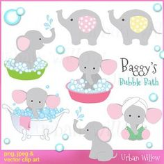 Baggy's Bubble Bath - Clip art set in premium quality 300 dpi, Png and Jpeg and Vector files. Elephant Party, Pink Elephant, Scrapbook Bebe, Baby Shower Gift Bags, Baby Shawer, Clip Art, Bubble Bath, Baby Decor, Digital Stamps