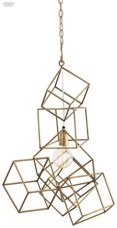 Editors' Picks: 90 Statement Light Fixtures | Noel pendant in antiqued brass by Arteriors.