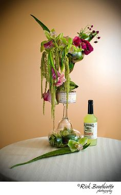 Margarita Themed Bar Arrangement #FlowersForTheBar #BarFlowers #WeddingBarFlowers