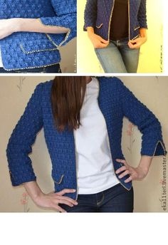 Jacket in Chanel style of high-quality wool crocheted yarn. The deep blue color and decorative chain underline the elegance. Looks good with any clothes. Very warm and cozy.
