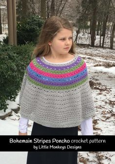 Colorful poncho crochet pattern for girls and women - easy poncho pattern Poncho Au Crochet, Crochet Cape, Poncho Shawl, Crochet Poncho Patterns, Free Crochet, Knit Crochet, Crochet Sweaters, Crochet Girls, Capelet