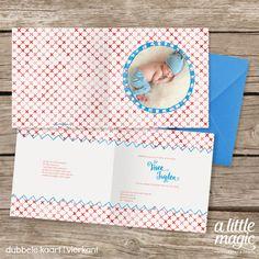 Een vrolijk geboortekaartje met aquarel illustraties in rood en blauw. Met foto van jullie eigen kindje.