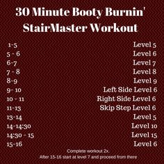 30 Minute StairMaster Workout. Sweaty cardio workout to strengthen and tighten your lower body.
