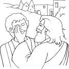 Jesus heals the blind man.