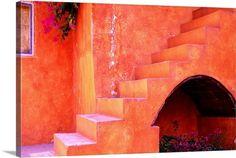 Red stone staircase in Mexico,  Queretaro