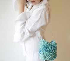 Turquoise Wedding bag Green teal Purse handknit by Notforeat, €50.00