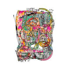 Artsy Lines, 11x14 print, Abstract, Art, Funky, Drawing Painting Illustration, Ingrid Padilla