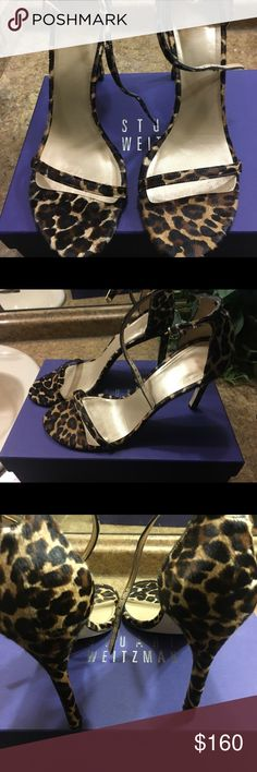 Stuart Weitzman Nudistsong Sandal Pecan Leopard Hair Sandal with 4in heel. Great condition, only worn once. Stuart Weitzman Shoes Heels
