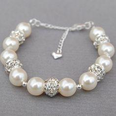 Ivory Pearl Wedding Bracelet Brides Jewelry Bridal by AMIdesigns
