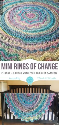 Crochet Afghans Patterns Mini Rings of Change Free Crochet Pattern Crochet Afghans, Crochet Baby Blanket Beginner, Crochet Stitches, Crochet Blankets, Crochet Square Patterns, Crochet Squares, Crochet Blanket Patterns, Crochet Designs, Free Mandala Crochet Patterns