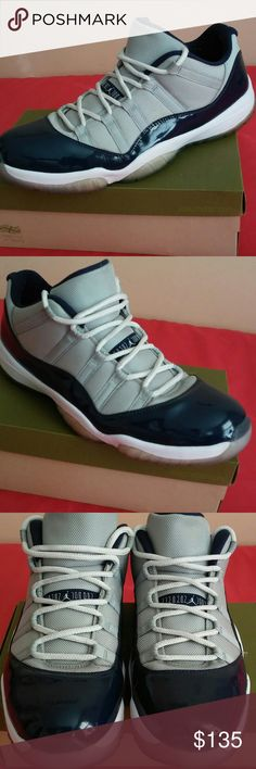 2015 Nike Air Jordan 11 Retro Geotwn Nvy Gry SZ 14 Shoes is pre-owned and in great shape. Socks deposits inside of shoes mainly shows signs of use. Navy and Grey combination for this Lows makes it so unique in appearance. Retail for $240. Shoes is presently rated 7.8/10. Very nice kicks in awesome condition and guaranteed to be 100% authentic nike merchandise. Nike Shoes Sneakers