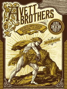 Avett brothers red rocks 2012 official concert poster rare s/n mint condition