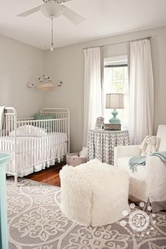 I like the grey and cream tones. The pop of blue for boy maybe pop of pink for a girl