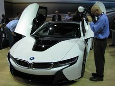 BMW's i8 plug-in performance car certainly looks futuristic. Here it is at the Los Angeles Auto Show. It goes on sale next year.