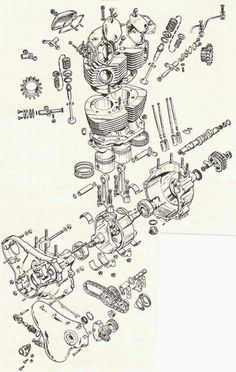 Motorbike Parts, Motorcycle Mechanic, Norton Motorcycle, Motorcycle Posters, Motorcycle Art, Motorcycle Design, Antique Motorcycles, Triumph Motorcycles, Cafe Racer Moto
