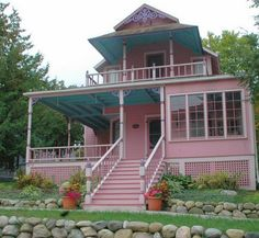 More adorable Bay View Cottages in Petoskey , MI...got a love a person who has a pink house!