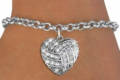 Volleyball Crystal Heart bracelet, another unique piece of volleyball jewelry by GymRats Volleyball necklaces, bracelets, and earrings. Bridesmaid Jewelry, Bridal Jewelry, Unique Jewelry, Volleyball Jewelry, Friend Bracelets, Birthday Gifts For Best Friend, Heart Bracelet, Heart Charm, Fashion Jewelry