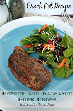 CrockPot recipe Pepper and Basalmic Pork Chops, Pork chop recipe for the crockpot #PorkChops