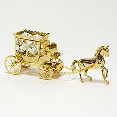 Gold Horse Car  可愛い雑貨で、お部屋からクリスマスをお楽しみください。【馬と馬車(ゴールド)】