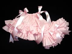 Ready To Ship 3 Mos Little Miss Bella PINK DOUBLE RUFFLE Baby Pillowcase Dress and Ruffle Bloomers Diaper Cover Set. $48.00, via Etsy.