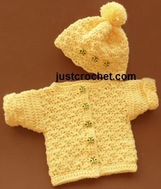Free baby crochet pattern for bobble hat and cardigan from http://www.justcrochet.com/preemie-cardi-hat-usa.html #patternsforcrochet #justcrochet