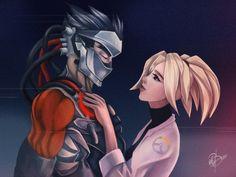 Overwatch Blackwatch Genji and Mercy Fan Art